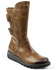 Fly London Tan Low Wedge Calf Boot
