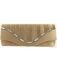 Pleated Front Diamante Clutch