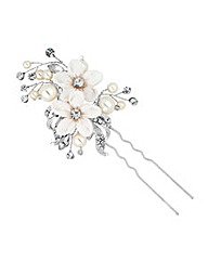 Jon Richard Fabric Flower Spray Hair Pin