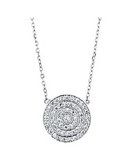 Simply Silver Micro Pave Disc Necklace
