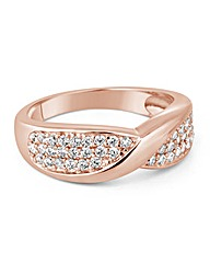 Simply Silver Rose Gold Pave Twist Ring