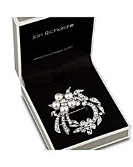 Jon Richard Pearl Crystal Wreath Brooch