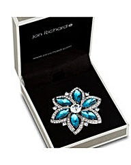 Jon Richard Blue Crystal Flower Brooch