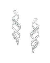Simply Silver Pave Swirl Earring