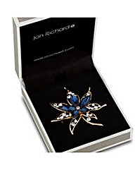 Jon Richard Blue Crystal Floral Brooch