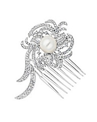 Jon Richard Pearl Crystal Mini Hair Comb