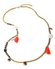 Long Gold Beaded Tassel Necklace
