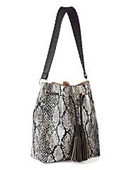 Snake Print Tassel Duffle Bag