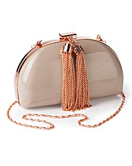 Patent Nude Tassel Clutch Bag