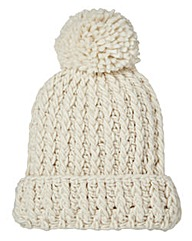 Cream Chunky Knit Bobble Hat