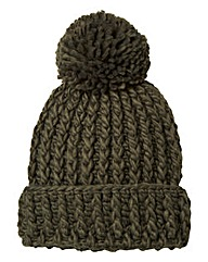 Khaki Chunky Knit Bobble Hat