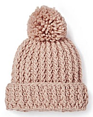 Pink Chunky Knit Bobble Hat