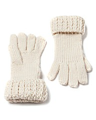 Cream Chunky Knit Gloves