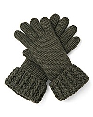 Khaki Chunky Knit Gloves