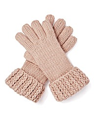 Pink Chunky Knit Gloves
