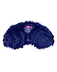 Navy Together Faux Fur Shawl