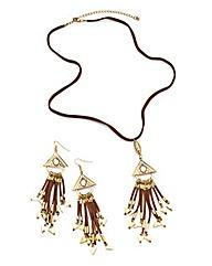 Faux Suede Tassel Necklace Earring Set