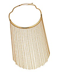 Gold Chain Fringe Statement Necklace