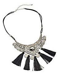 Silver Tassel Statement Necklace