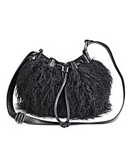 Faux Mongolian Fur Shoulder Bag