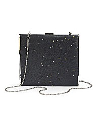 Black Glitter Hard Clutch Bag