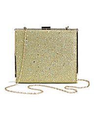 Gold Glitter Hard Clutch Bag