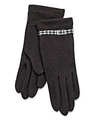 Black Houndstooth Cuff Detail Gloves
