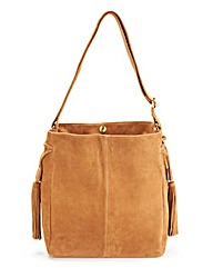 Suede Duffle Bag with Tassels