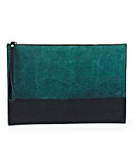 Two-Tone Suede Clutch Bag