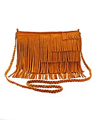 Suede Fringe Across Body Bag