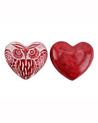 Set Of Two Red Owl Soapstone Hearts