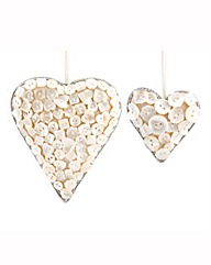 Set Of 2 Mother Of Pearl Button Hearts