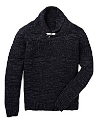 Jacamo Vine Patterned Shawl Neck Jumper