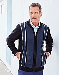 Premier Man Navy Jacquard Zip Cardigan