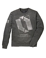 Label J Geo Foil Print Crew Sweat Long