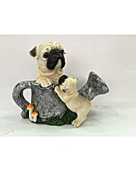 Pug Dogs with Watering Can Solar