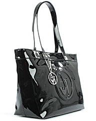 Armani Jeans Black Patent Zip Shopper