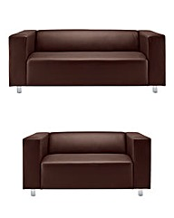 Taylor Faux Leather 3 and 2 Seater Suite