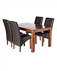 Java Acacia Table & 4 Canterbury Chairs