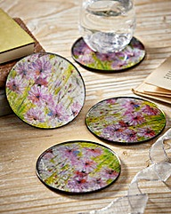 Flower Meadow Glass Coasters Set Of 4