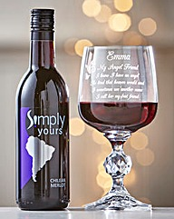 Friendship Angel Poem Glass & Wine
