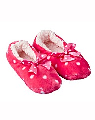Pink Spotty Furry Slippers
