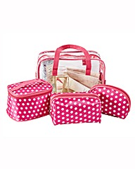 Pink Spotty Cosmetic Bag Set