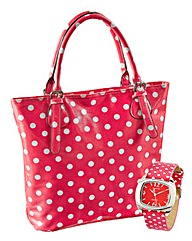 Red Spotty Bag & Watch Set