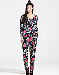 Girls On Film Navy Floral Print Jumpsuit