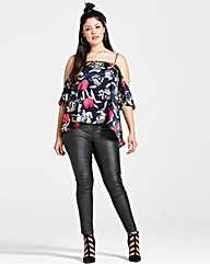 Girls On Film Navy Floral Print Top