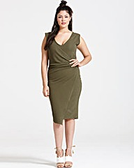 Girls On Film Khaki Drape Dress