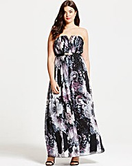Little Mistress Rose Print Maxi Dress