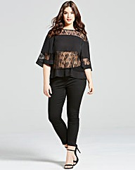 Girls On Film Black Lace Stripe Top
