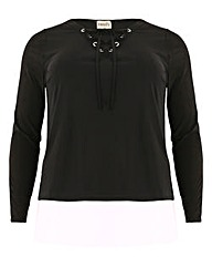 emily Tie Front Eyelet Shirt Top.